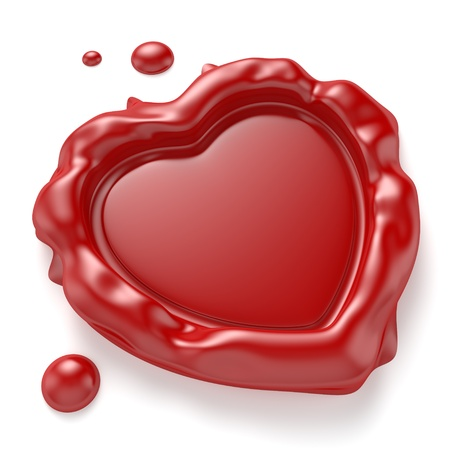 Red wax seal in the shape of a heart isolated on white background  Computer generated image with clipping path