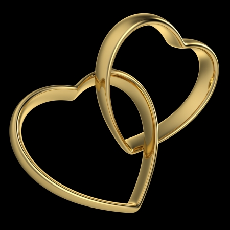 Golden rings in the shape of a heart linked together on black background  Computer generated image with clipping path Stock Photo - 17630039