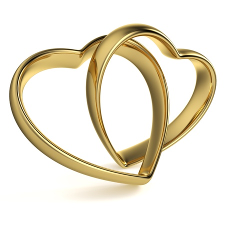 Golden rings in the shape of a heart linked together on white background  Computer generated image with clipping path
