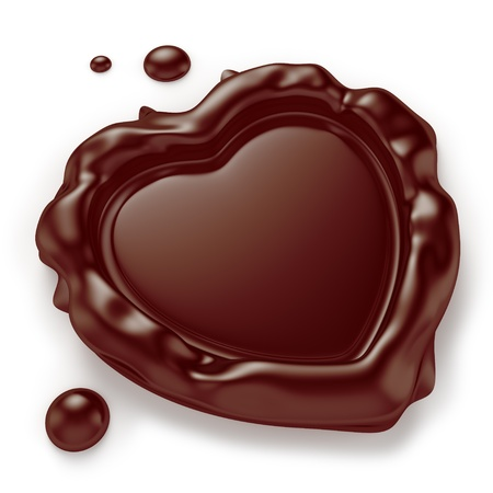 Chocolate seal in the shape of a heart isolated on white background  Computer generated image with clipping path  Banco de Imagens