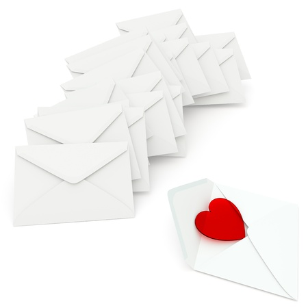 courtship: A heart of red glass in unsealed envelope on white background  Computer generated image with clipping path  Stock Photo