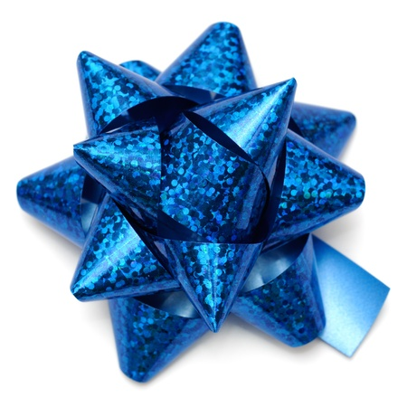 metallized: Blue holographic gift bow on white background