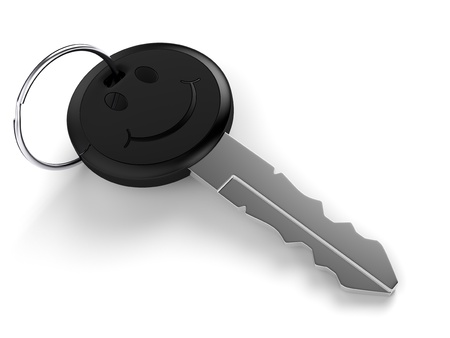 smiley face car: Car key with smiley face on white background  Computer generated image with clipping path  Stock Photo