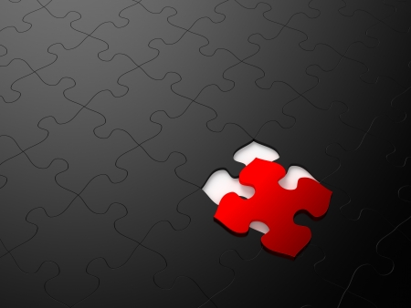 Black puzzle with a single red piece  Computer generated image