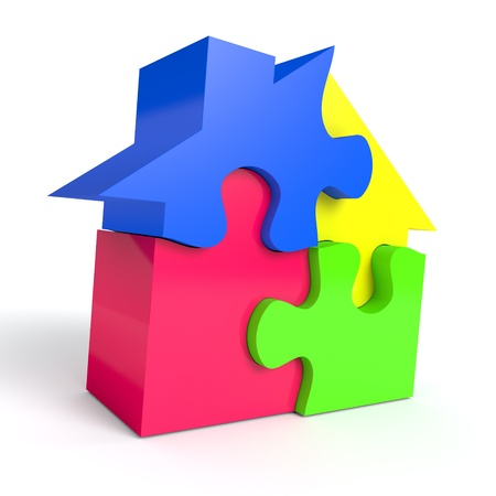 Jigsaw puzzle in the shape of a house on white background  Computer generated image with clipping path photo