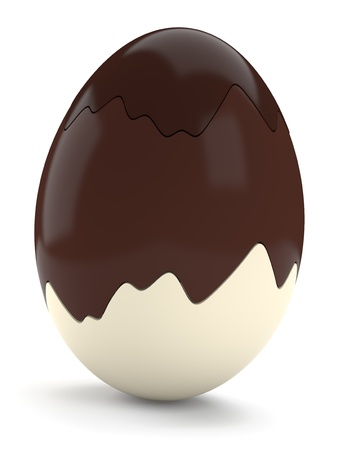 Easter egg made of dark, milk and white chocolate isolated on white background  Computer generated image with clipping path photo