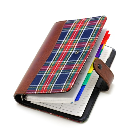 half open: A half-open notebook on white background