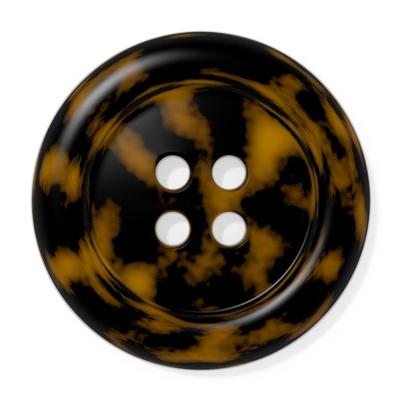 tortoiseshell: Tortoiseshell button isolated on white background  Computer generated image with clipping path