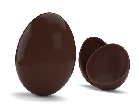 Chocolate easter eggs isolated on white background  Computer generated image with multiple clipping paths photo