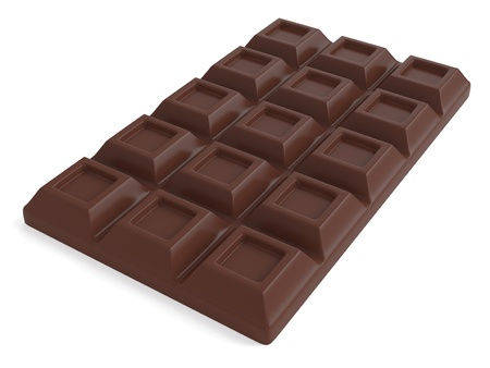 A Bar of milk chocolate isolated on white background  Computer generated image with clipping path photo