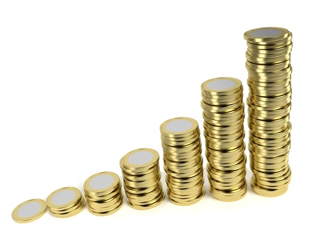 path to wealth: Increasing piles of coins on white background symbolizing a remunerative investment, growing wealth, price inflation etc  Computer generated image with clipping path