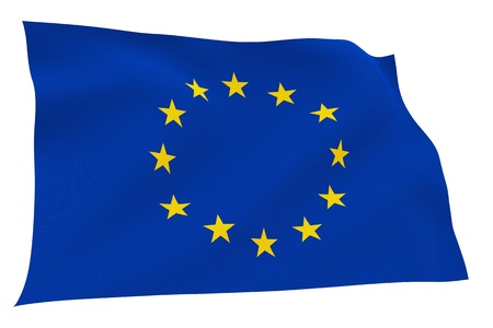 European Union flag isolated on white background with clipping path  Embossed stars