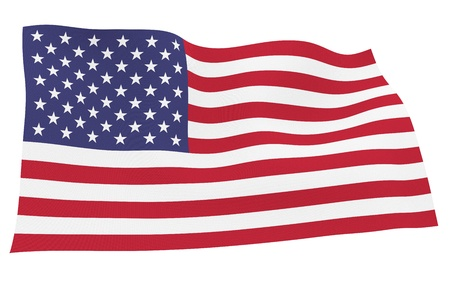 tricolour: American flag isolated on white background with clipping path Stock Photo