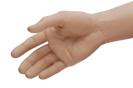 The right hand  of a mannequin  held out for a handshake or to offer help, assistance    Isolated on white background with clipping path photo