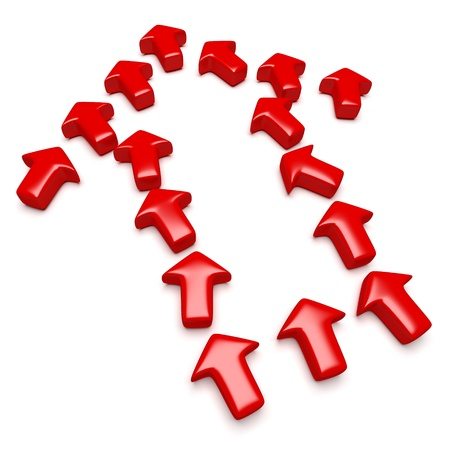 Many red arrows arranged in the shape of a single arrow to symbolize a mutual objective, cooperation    Computer generated image with clipping path