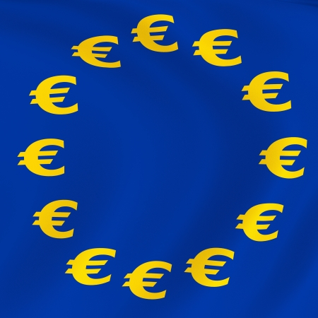 polyester: Euro currency flag  Computer generated image
