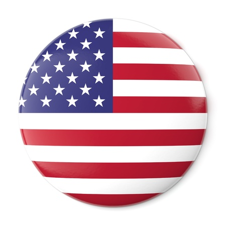 A pin button with the flag of the United States of America  Isolated on white background with clipping path  photo