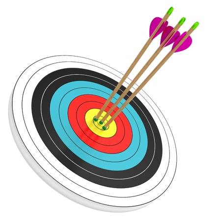 target shooting: three arrows in the bull Stock Photo