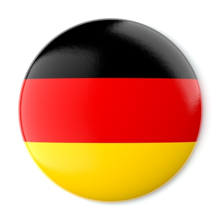 A pin button with the flag of Germany  Isolated on white background with clipping path