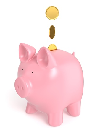 A pink piggy bank  money box  isolated on white background  Computer generated image with clipping path