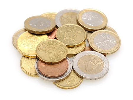 Close-up of euro coins isolated on white background Stock Photo