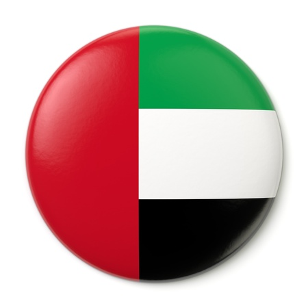 A pin button with the flag of the United Arab Emirates  Isolated on white background with clipping path  Stock Photo