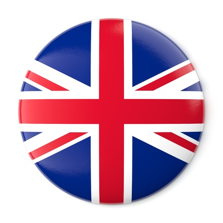 A pin button with the flag of the United Kingdom  Isolated on white background with clipping path  Stock Photo