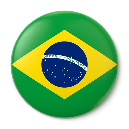 brasil: A pin button with the Brazilian flag  Isolated on white background with clipping path