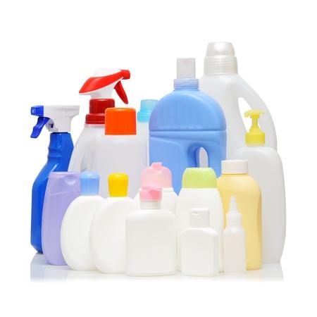 Empty detergent bottles on white background