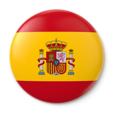 back button: A pin button with the Spanish flag  Isolated on white background with clipping path