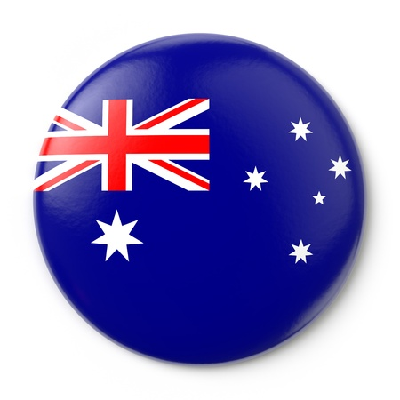 red flag up: A pin button with the Australian flag  Isolated on white background with clipping path  Stock Photo