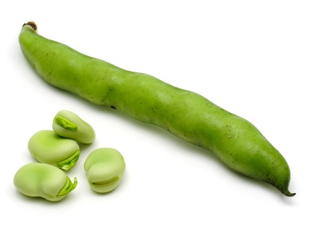 fava: Fresh broad beans isolated on white background
