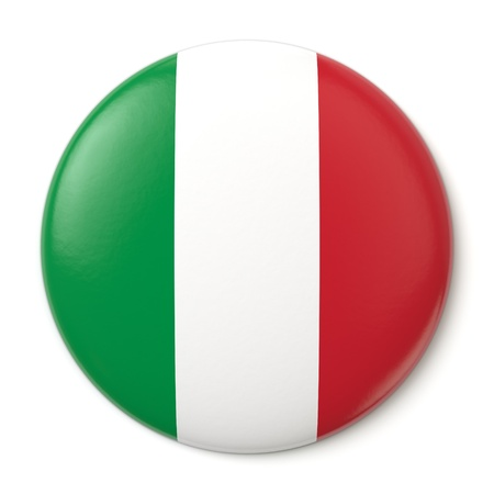 tricolour: A pin button with the Italian flag  Isolated on white background with clipping path