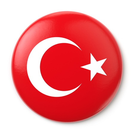 A pin button with the Turkish flag  Isolated on white background with clipping path