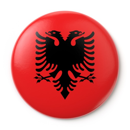 albanian: A pin button with the Albanian flag  Isolated on white background with clipping path  Stock Photo
