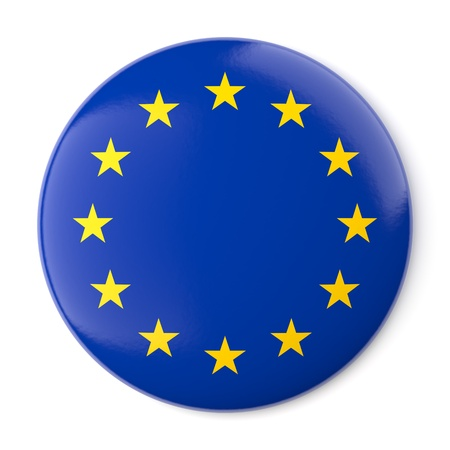A pin button with the flag of Europe  Isolated on white background with clipping path