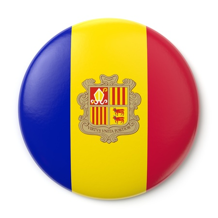 A pin button with the flag of Andorra  Isolated on white background with clipping path