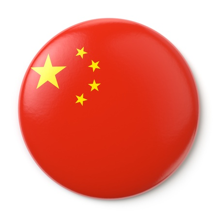 A pin button with the Chinese flag  Isolated on white background with clipping path