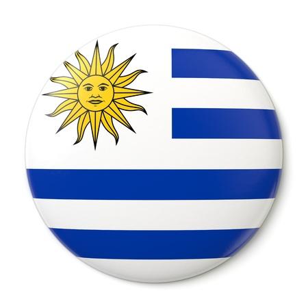 bandera de uruguay: Un botón de pin con la bandera uruguaya Aislado sobre fondo blanco con trazado de recorte