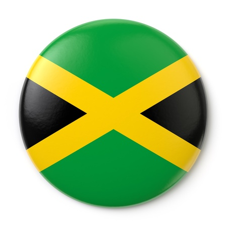 jamaica: A pin button with the Jamaican flag  Isolated on white background with clipping path