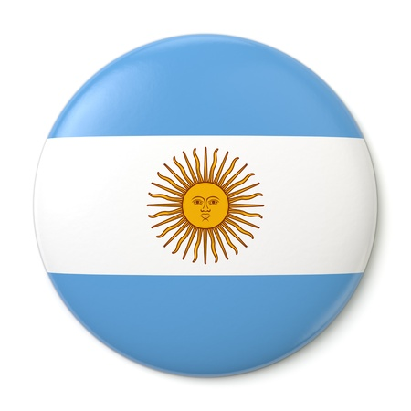 A pin button with the Argentine flag  Isolated on white background with clipping path