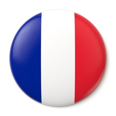 tricolour: A pin button with the flag of the French Republic. Isolated on white background with clipping path. Stock Photo