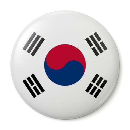 black flag: A pin button with the flag of the Republic of Korea. Isolated on white background with clipping path.