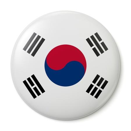 bandera: Un botón de pin con la bandera de la República de Corea. Aislado sobre fondo blanco con trazado de recorte. Foto de archivo