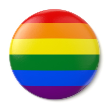 A pin button with the flag of the LGBT movement. Isolated on white background with clipping path. photo