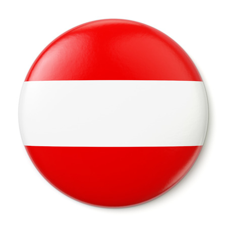 A pin button with the flag of the Republic of Austria  Isolated on white background