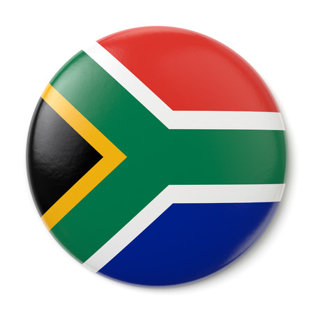 A pin button with the flag of the Republic of South Africa  Isolated on white background  Stock Photo