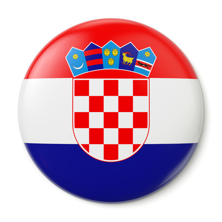 A pin button with the flag of the Republic of Croatia  Isolated on white background Stock Photo