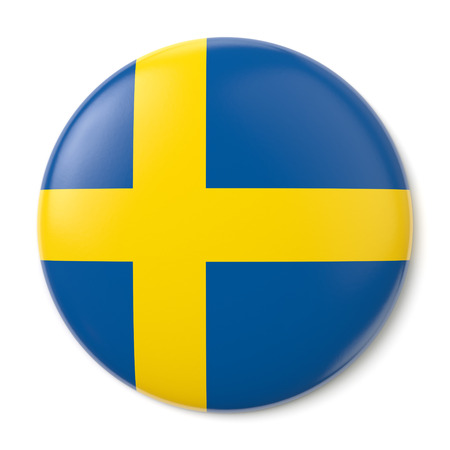 sverige: A pin button with the flag of the Kingdom of Sweden  Isolated on white background