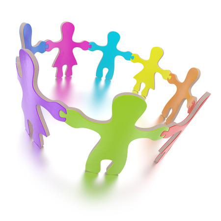 Jigsaw puzzle children standing in a circle on white background Stock Photo
